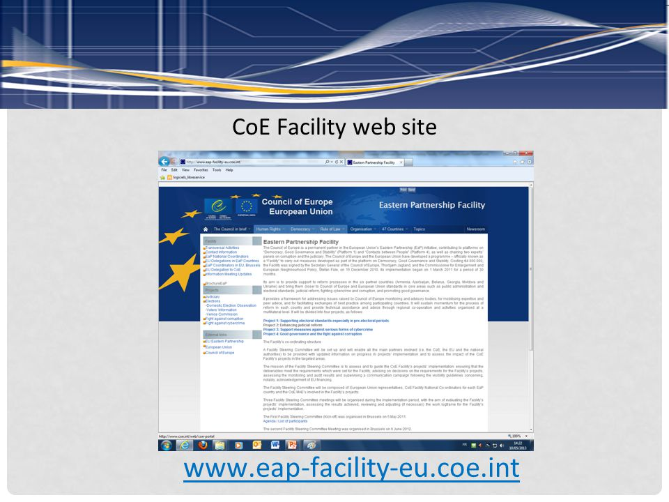 CoE Facility web site