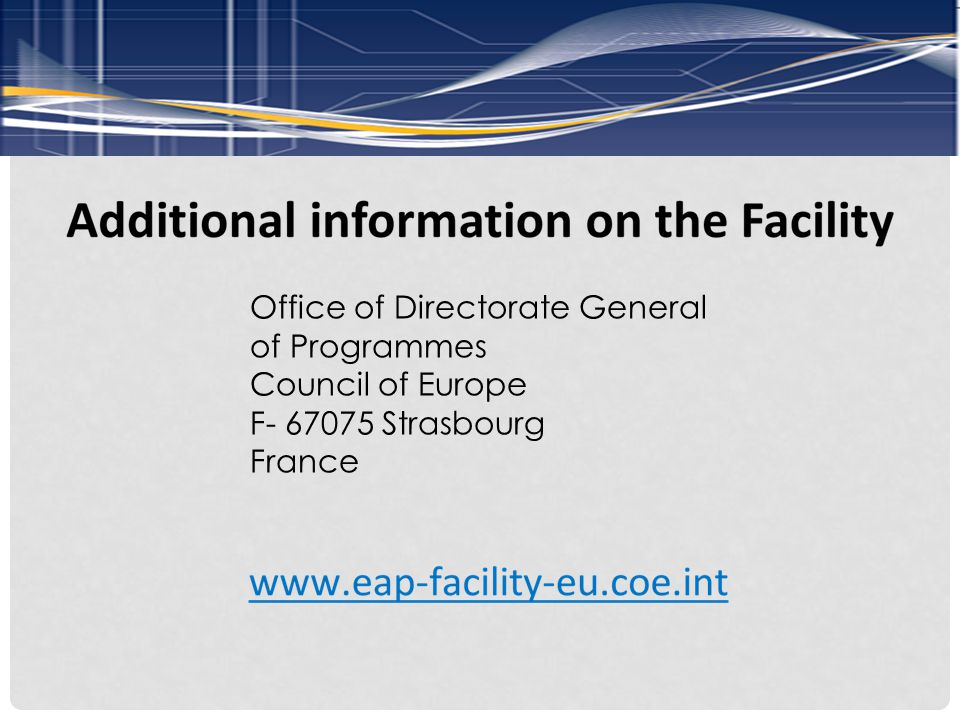 Office of Directorate General of Programmes Council of Europe F- 67075 Strasbourg France