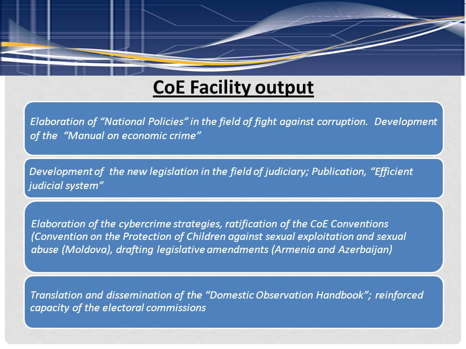 CoE Facility output Elaboration of National Policies in the field of fight against corruption.