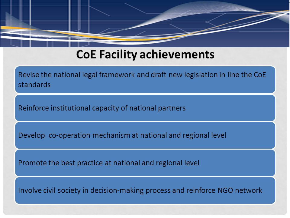 CoE Facility achievements Revise the national legal framework and draft new legislation in line the CoE standards Reinforce institutional capacity of national partnersDevelop co-operation mechanism at national and regional levelPromote the best practice at national and regional levelInvolve civil society in decision-making process and reinforce NGO network