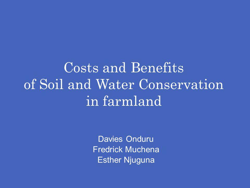 Costs and Benefits of Soil and Water Conservation in farmland Davies Onduru Fredrick Muchena Esther Njuguna