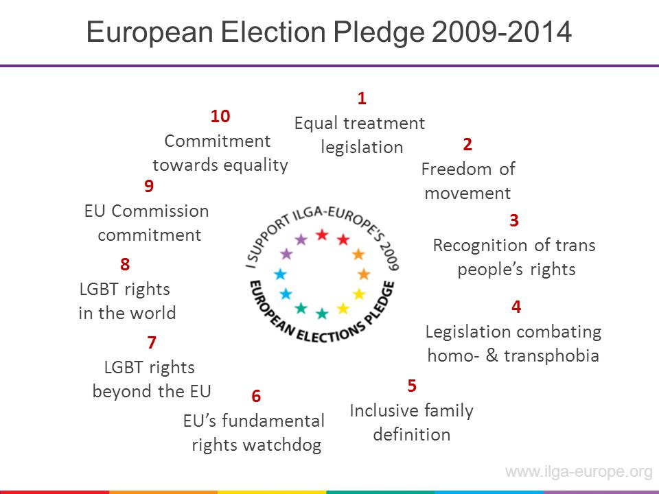 www.ilga-europe.org European Election Pledge 2009-2014 7 LGBT rights beyond the EU 6 EU's fundamental rights watchdog 5 Inclusive family definition 4 Legislation combating homo- & transphobia 3 Recognition of trans people's rights 2 Freedom of movement 1 Equal treatment legislation 8 LGBT rights in the world 9 EU Commission commitment 10 Commitment towards equality