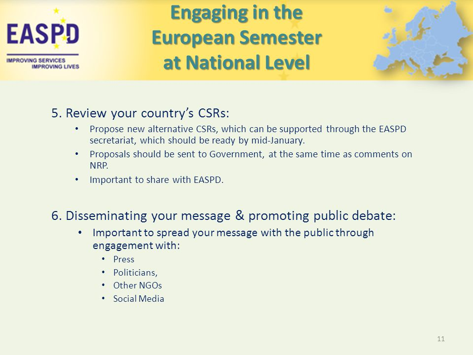 Engaging in the European Semester at National Level 5.