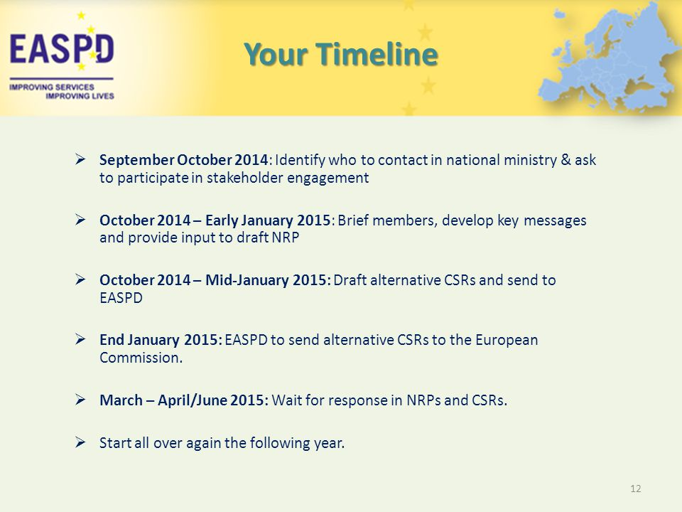 Your Timeline  September October 2014: Identify who to contact in national ministry & ask to participate in stakeholder engagement  October 2014 – Early January 2015: Brief members, develop key messages and provide input to draft NRP  October 2014 – Mid-January 2015: Draft alternative CSRs and send to EASPD  End January 2015: EASPD to send alternative CSRs to the European Commission.