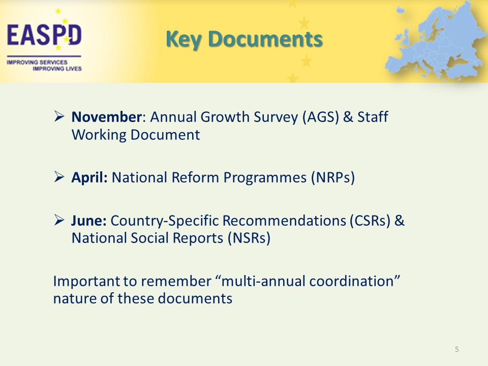 Key Documents  November: Annual Growth Survey (AGS) & Staff Working Document  April: National Reform Programmes (NRPs)  June: Country-Specific Recommendations (CSRs) & National Social Reports (NSRs) Important to remember multi-annual coordination nature of these documents 5