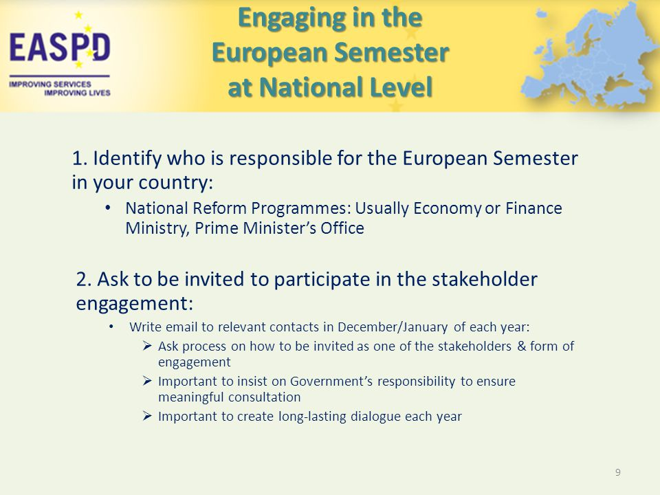 Engaging in the European Semester at National Level 1.