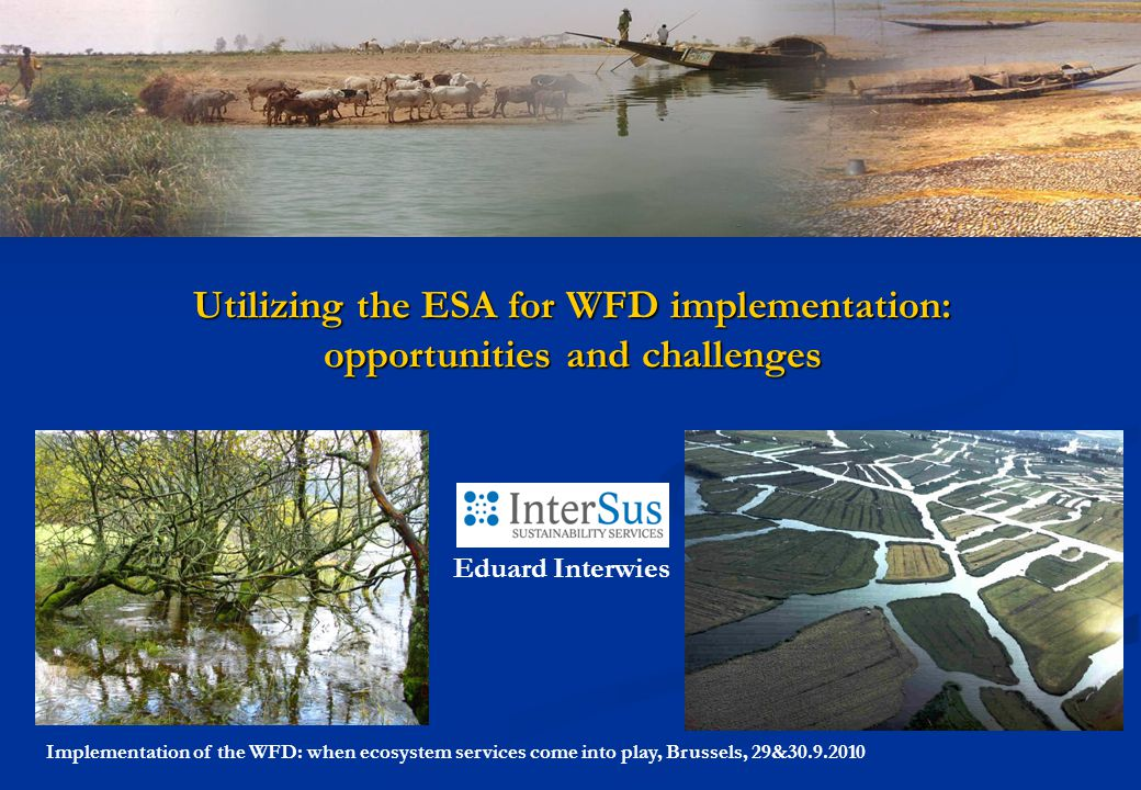 Implementation of the WFD: when ecosystem services come into play, Brussels, 29&30.9.2010 Utilizing the ESA for WFD implementation: opportunities and challenges Eduard Interwies