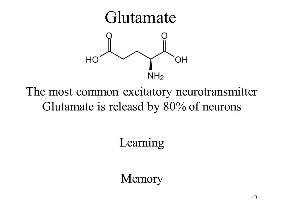 Glutamate The most common excitatory neurotransmitter Glutamate is releasd by 80% of neurons Learning Memory 10
