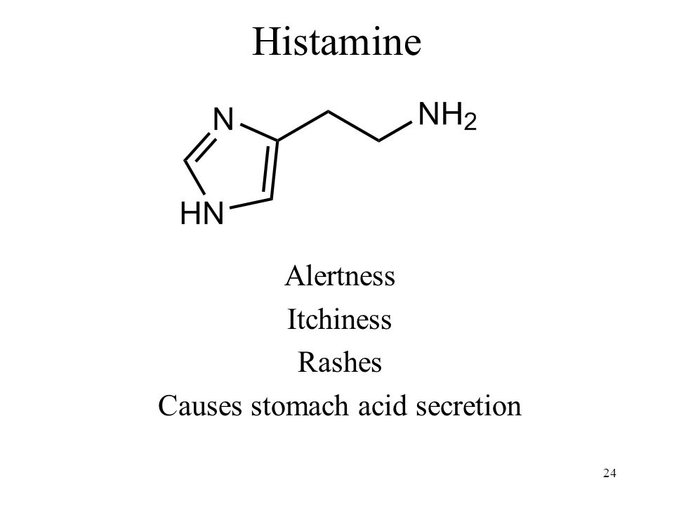 Histamine Alertness Itchiness Rashes Causes stomach acid secretion 24