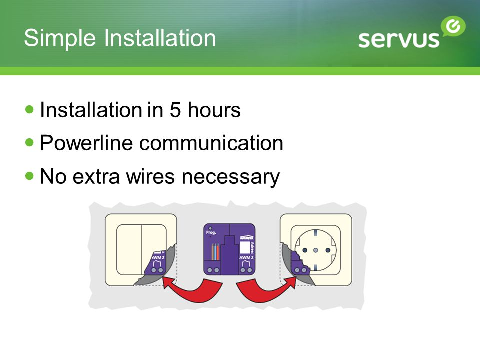Simple Installation Installation in 5 hours Powerline communication No extra wires necessary