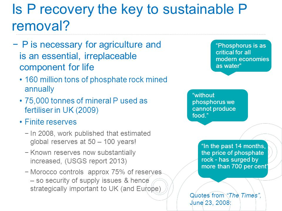 Business Case for P Recovery through Struvite at Stoke Bardolph STW, Nottingham 1.Reduces capital cost (£5 million saving vs conventional soln.) and increases robustness of mainstream Bio-P process −Removes ~ 80% of P from returns (and some ammonia) −Reduces required process volume 2.OPEX savings estimated at £165K/yr −Reduces nuisance value of struvite coating pipes and pumps Savings on maintenance, interventions and anti-struvite chemicals −Reduces any supplementary iron requirements −Provides an additional revenue stream valuable slow release fertiliser Contract signed with a fertiliser blender for incorporation into a liquid suspension fertiliser.