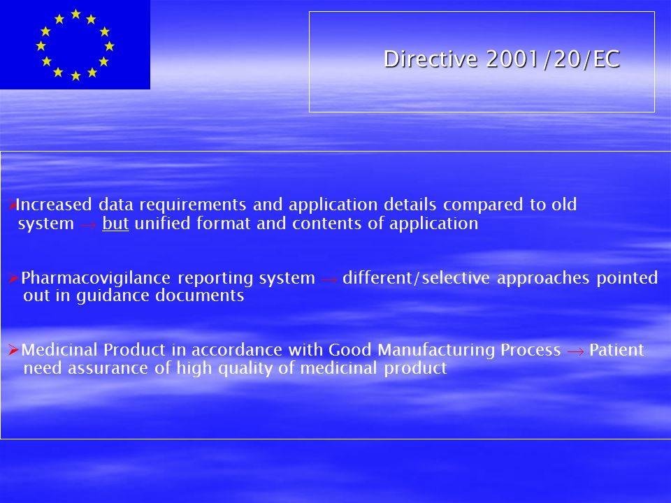  Increased data requirements and application details compared to old system  but unified format and contents of application  Pharmacovigilance reporting system  different/selective approaches pointed out in guidance documents  Medicinal Product in accordance with Good Manufacturing Process  Patient need assurance of high quality of medicinal product Directive 2001/20/EC