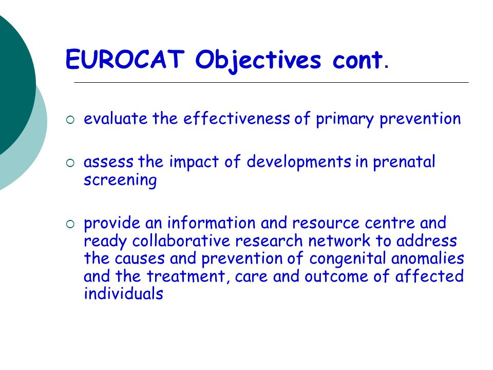EUROCAT Objectives cont.