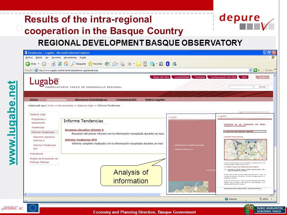 Economy and Planning Direction, Basque Government Results of the intra-regional cooperation in the Basque Country REGIONAL DEVELOPMENT BASQUE OBSERVATORY www.lugabe.net Analysis of information