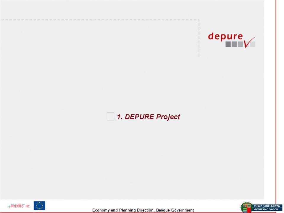 Economy and Planning Direction, Basque Government DEPURE Project description Title: Développement d'un système durable pour la prise de DÉcisions PUbliques au niveau RÉgional dans l économie de la connaissance Acronym: DEPURE Code of the project: 3S0144R Programme: INTERREG IIIC - Sud Instrument: Regional Framework Operation Timeline: 36 months Budget: 2.460.000 € ERDF: 1.372.500 Basque Government (Lead Partner): 980.000€ (ERDF: 490.000€) Regione Toscana: 910.000 € (ERDF: 455.000€) NORDA (North of Hungary): 570.000€ (ERDF: 427.500€)