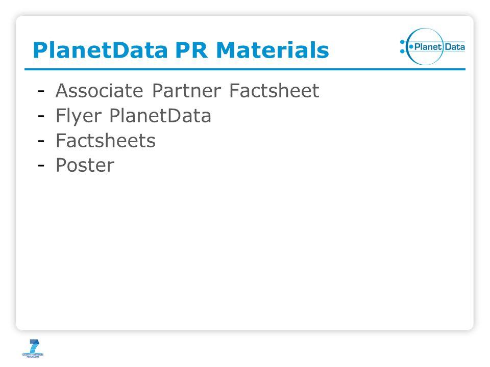 PlanetData PR Materials -Associate Partner Factsheet -Flyer PlanetData -Factsheets -Poster