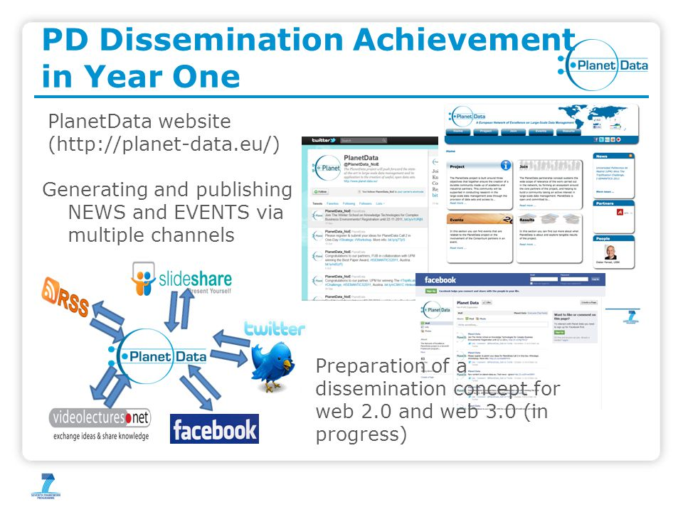 PD Dissemination Achievement in Year One PlanetData website (http://planet-data.eu/) Generating and publishing NEWS and EVENTS via multiple channels Preparation of a dissemination concept for web 2.0 and web 3.0 (in progress)
