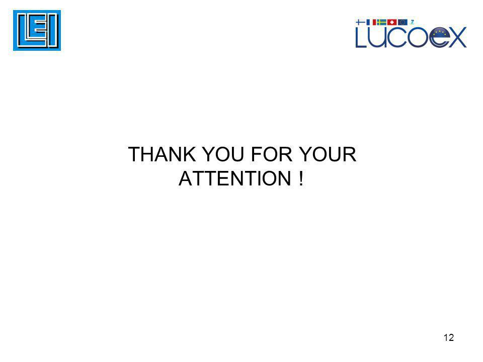 THANK YOU FOR YOUR ATTENTION ! 12
