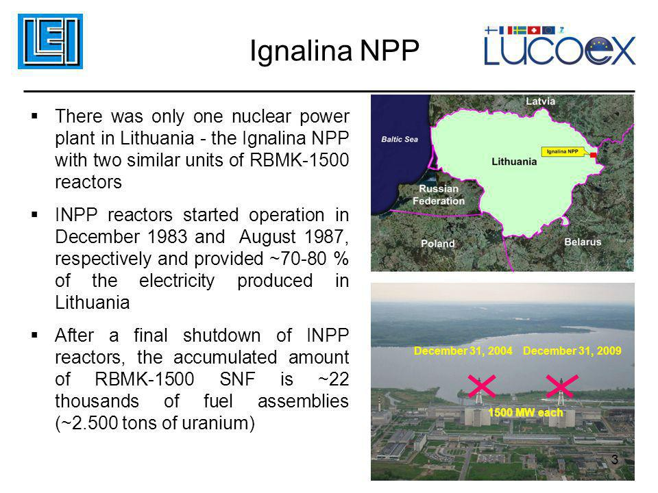 Ignalina NPP  There was only one nuclear power plant in Lithuania - the Ignalina NPP with two similar units of RBMK-1500 reactors  INPP reactors sta