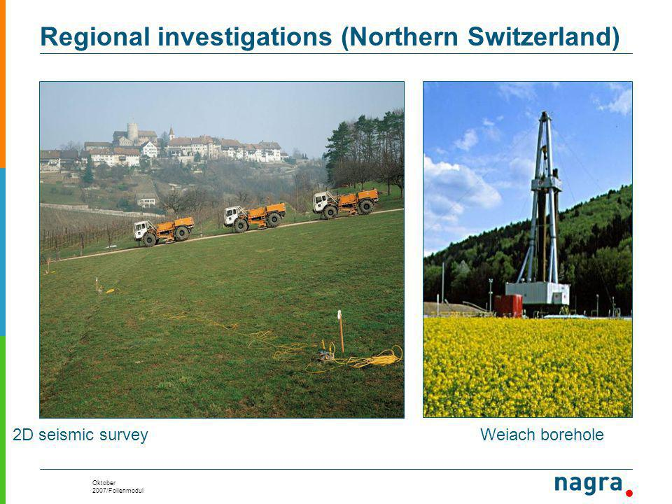 Oktober 2007/Folienmodul 2D seismic surveyWeiach borehole Regional investigations (Northern Switzerland)