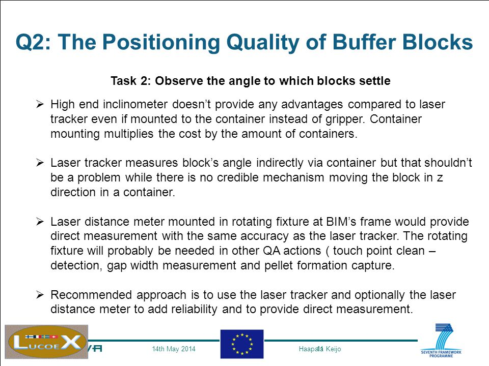 11 Q2: The Positioning Quality of Buffer Blocks Task 2: Observe the angle to which blocks settle  High end inclinometer doesn't provide any advantages compared to laser tracker even if mounted to the container instead of gripper.