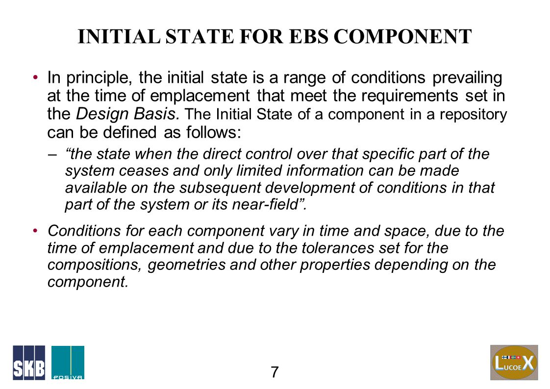 DEFINITION OF INITIAL STATE FOR EBS COMP.