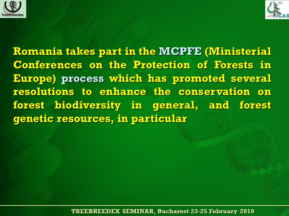 TREEBREEDEX SEMINAR, Bucharest 23-25 February 2010 TREEBREEDEX SEMINAR, Bucharest 23-25 February 2010 Romania takes part in the MCPFE (Ministerial Conferences on the Protection of Forests in Europe) process which has promoted several resolutions to enhance the conservation on forest biodiversity in general, and forest genetic resources, in particular