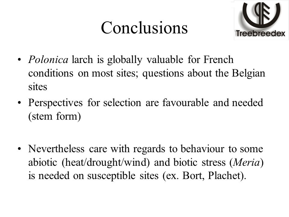 Conclusions Polonica larch is globally valuable for French conditions on most sites; questions about the Belgian sites Perspectives for selection are favourable and needed (stem form) Nevertheless care with regards to behaviour to some abiotic (heat/drought/wind) and biotic stress (Meria) is needed on susceptible sites (ex.