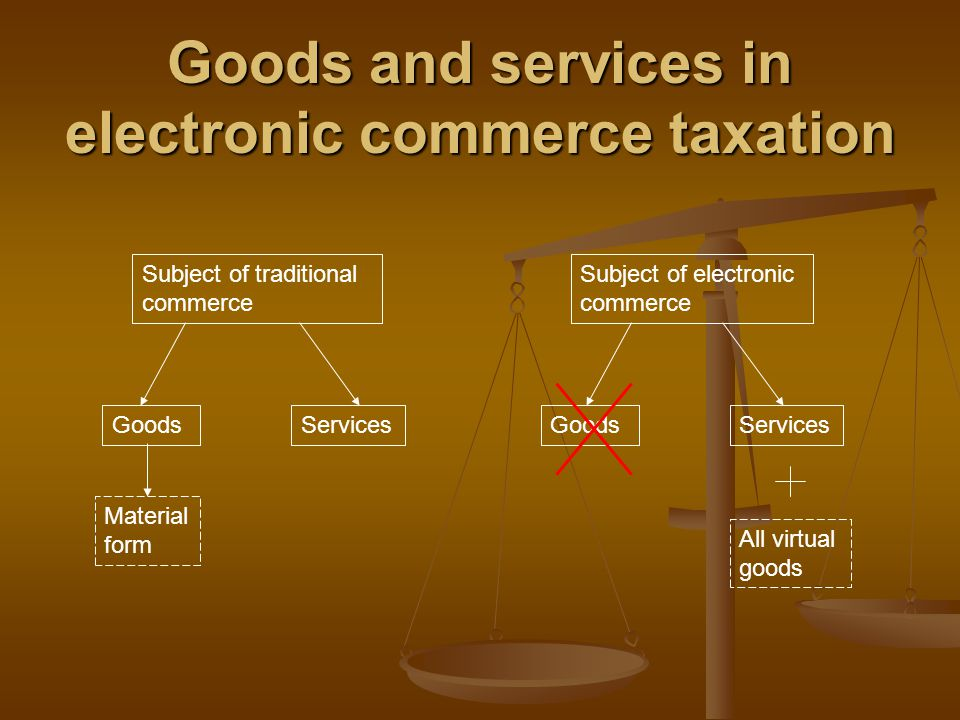 Goods and services in electronic commerce taxation Subject of traditional commerce Subject of electronic commerce GoodsServicesGoodsServices Material