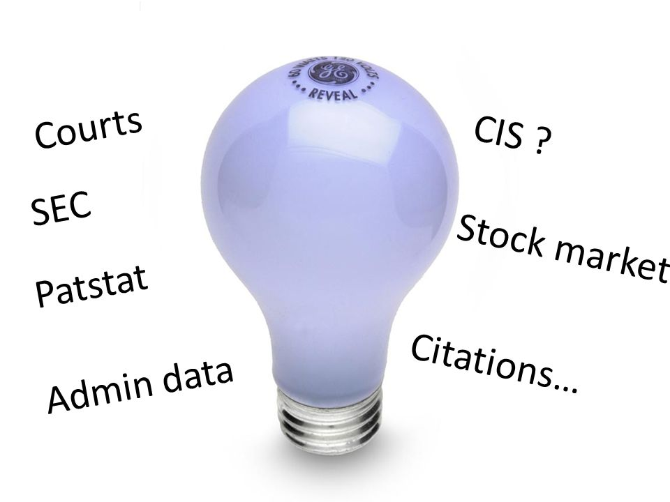 Courts CIS ? SEC Patstat Stock market Citations… Admin data