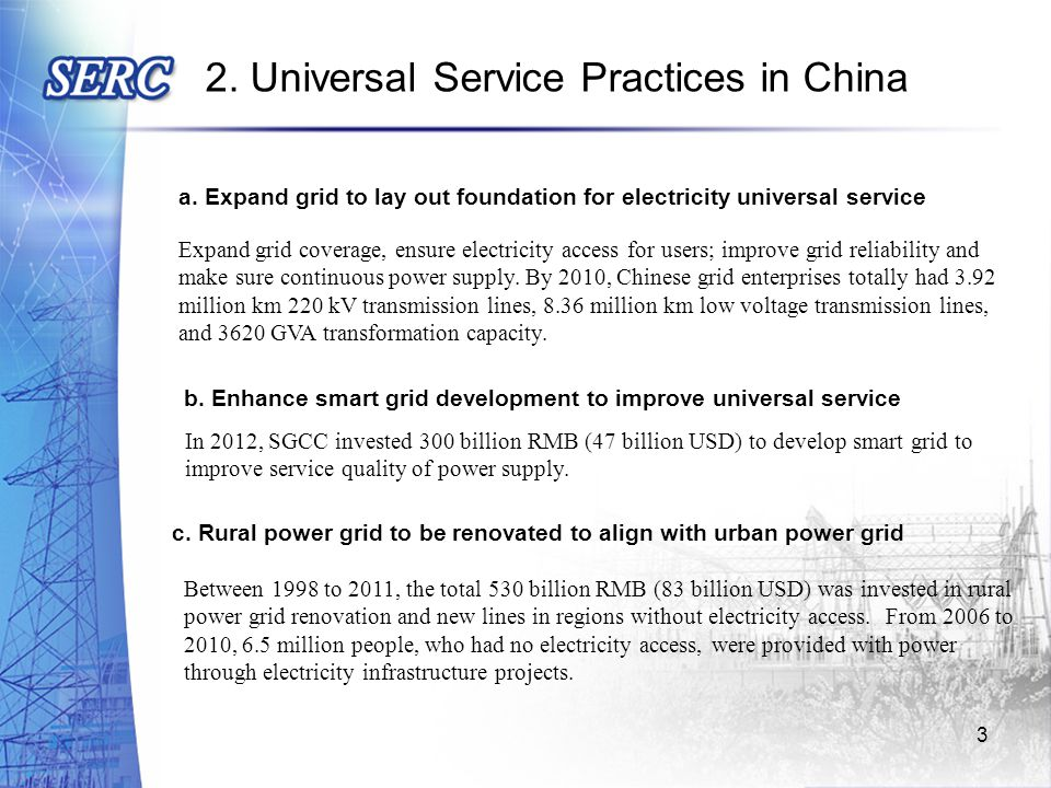 d.Actively develop renewable energy to provide power for production and living in rural areas e.