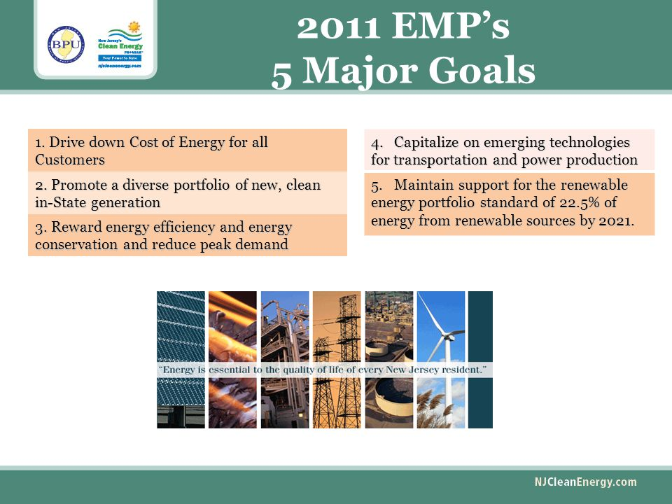 2011 EMP's 5 Major Goals 1. Drive down Cost of Energy for all Customers 2.
