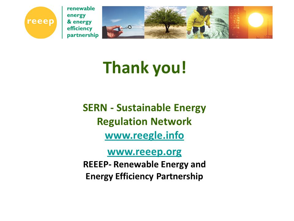 SERN - Sustainable Energy Regulation Network www.reegle.info www.reegle.info www.reeep.org www.reeep.org REEEP- Renewable Energy and Energy Efficiency Partnership Thank you!