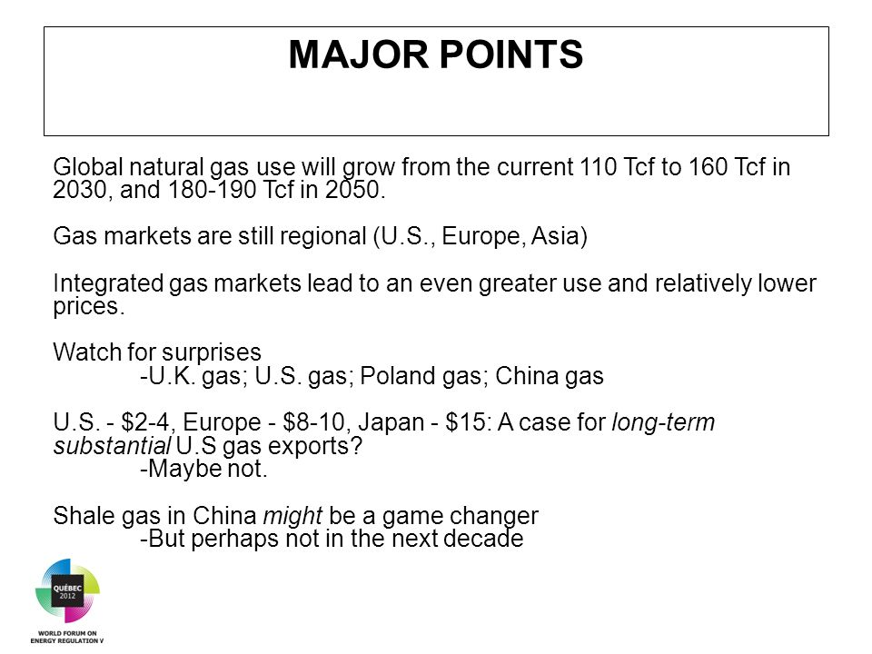 MAJOR POINTS Global natural gas use will grow from the current 110 Tcf to 160 Tcf in 2030, and 180-190 Tcf in 2050.