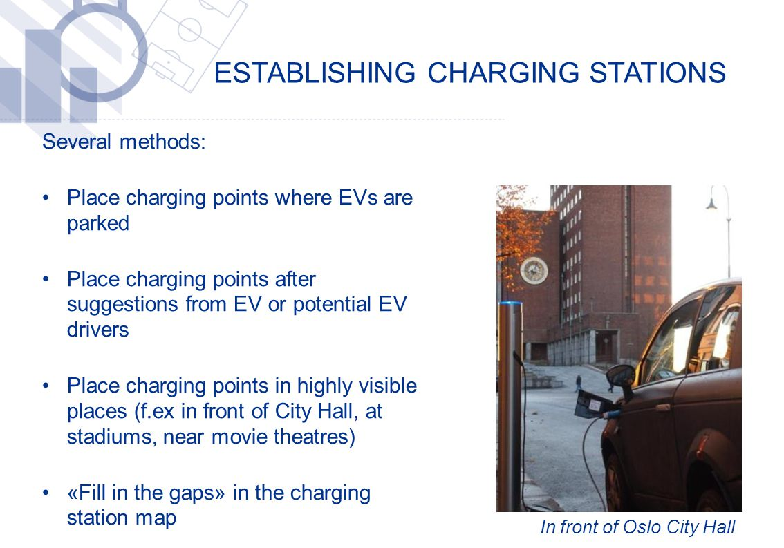 ESTABLISHING CHARGING STATIONS ​ Several methods: Place charging points where EVs are parked Place charging points after suggestions from EV or potential EV drivers Place charging points in highly visible places (f.ex in front of City Hall, at stadiums, near movie theatres) «Fill in the gaps» in the charging station map In front of Oslo City Hall