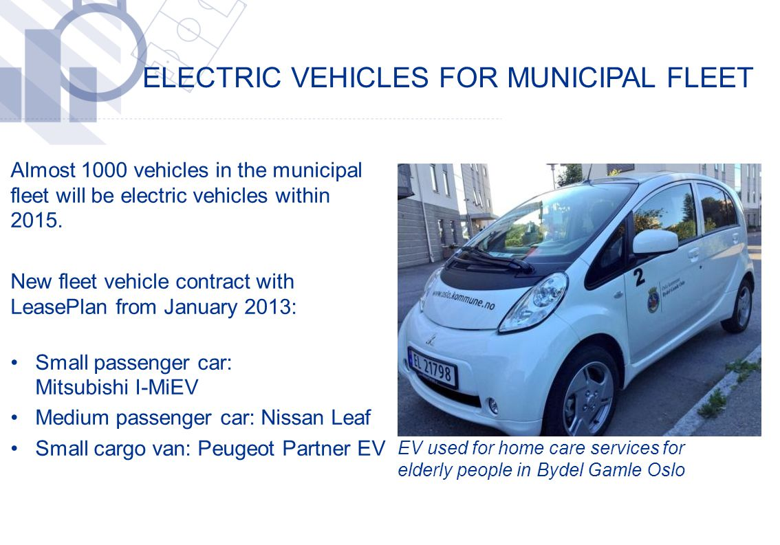 ELECTRIC VEHICLES FOR MUNICIPAL FLEET ​ Almost 1000 vehicles in the municipal fleet will be electric vehicles within 2015.