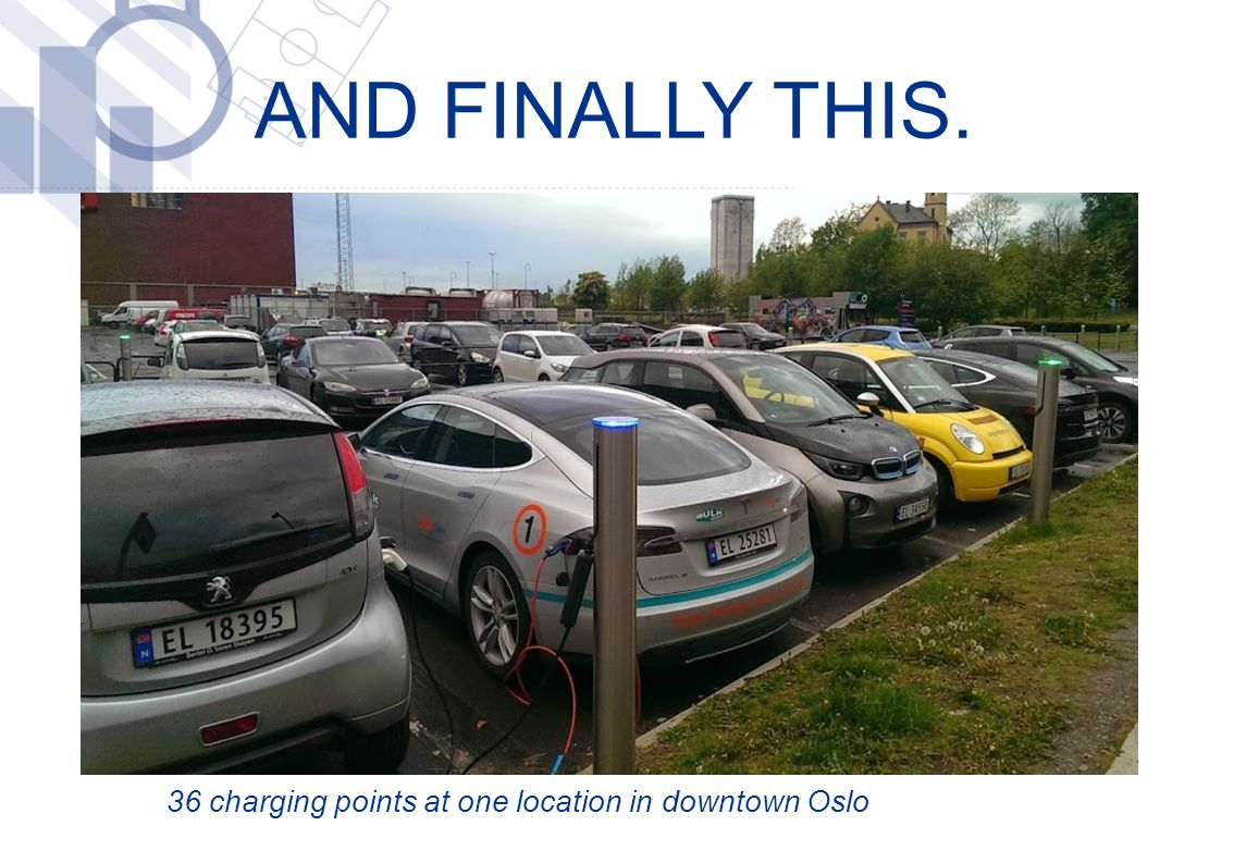 AND FINALLY THIS. 36 charging points at one location in downtown Oslo