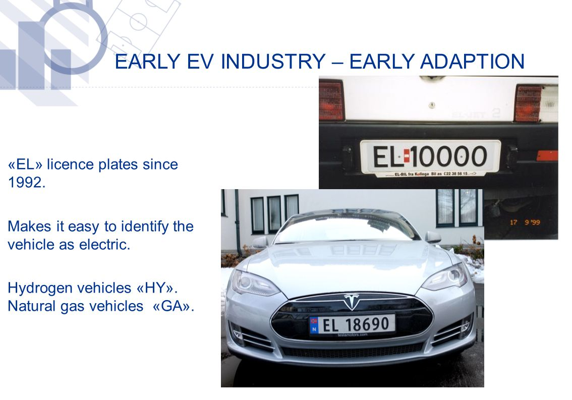 EARLY EV INDUSTRY – EARLY ADAPTION ​ «EL» licence plates since 1992. ​ Makes it easy to identify the vehicle as electric. ​ Hydrogen vehicles «HY». Na