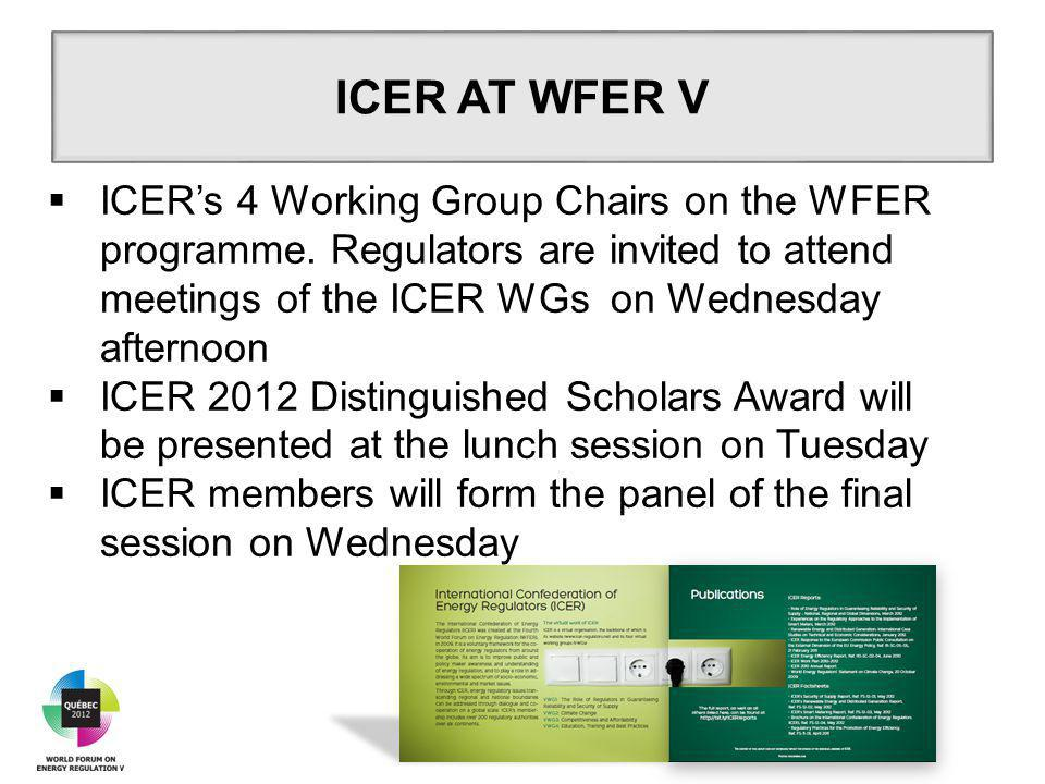  ICER's 4 Working Group Chairs on the WFER programme.
