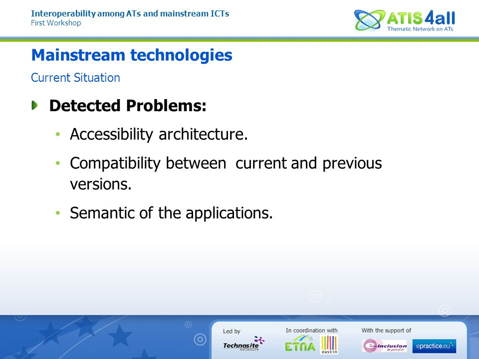 Interoperability among ATs and mainstream ICTs First Workshop Universal Interoperability API
