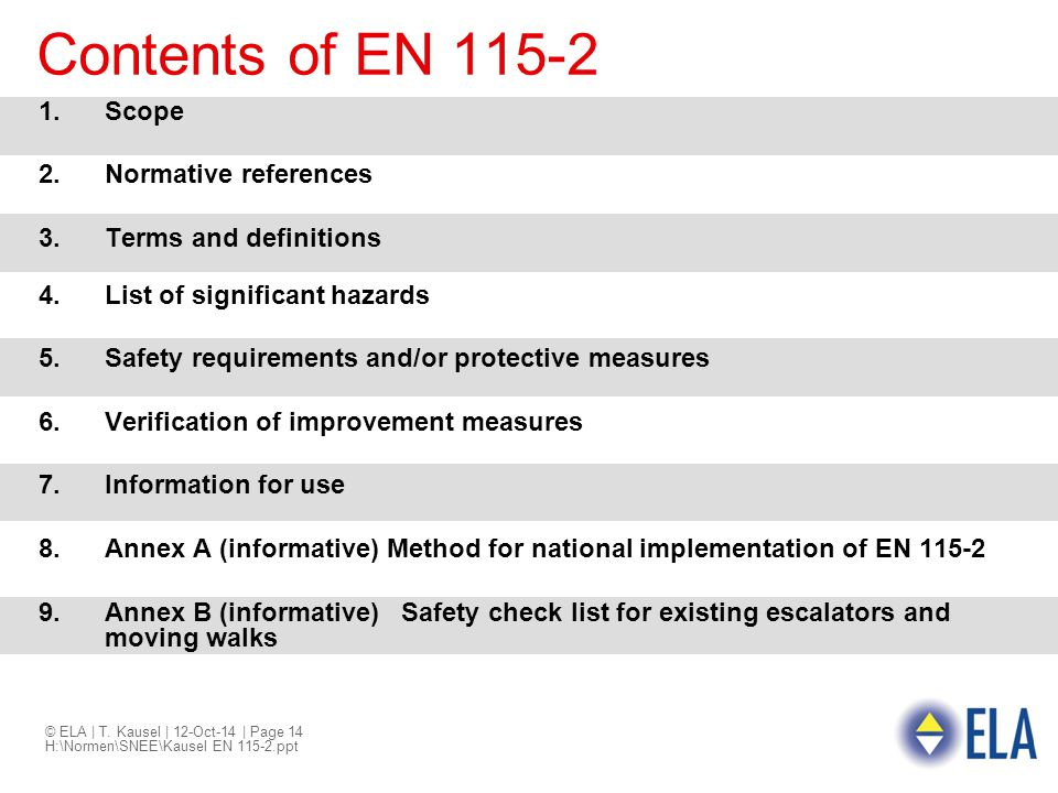 © ELA | T. Kausel | 12-Oct-14 | Page 14 H:\Normen\SNEE\Kausel EN 115-2.ppt Contents of EN 115-2 1.Scope 2.Normative references 3.Terms and definitions