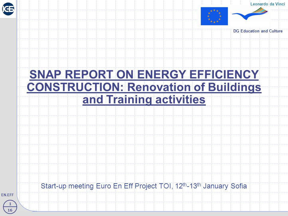 12 16 EN.EFF Leonardo da Vinci DG Education and Culture Structure of Energy consumption of Household in Bulgaria  70 % - heating  Cooking/ light - 15 %  Hot water – 15 %