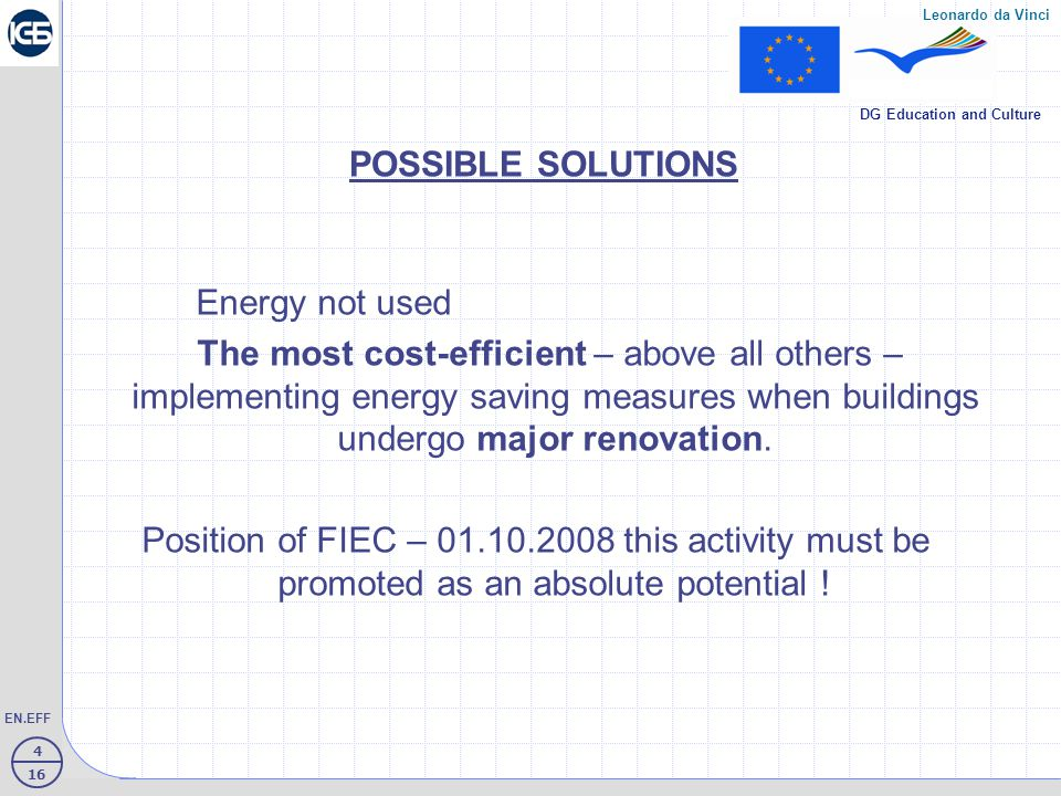15 16 EN.EFF Leonardo da Vinci DG Education and Culture Curricula on Energy Efficiency Construction in VTC  Obligatory elective training on Construction technology – XI grade Specialty: Construction and Architecture, in part Heat- insulation systems – types of materials, implementing facade-, heat- and hydroinsulations of plinth part, plain and room' roofs Duration of training: 10 school hours