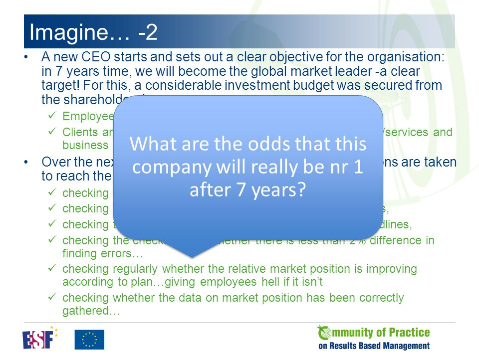 Imagine… -2 A new CEO starts and sets out a clear objective for the organisation: in 7 years time, we will become the global market leader -a clear target.