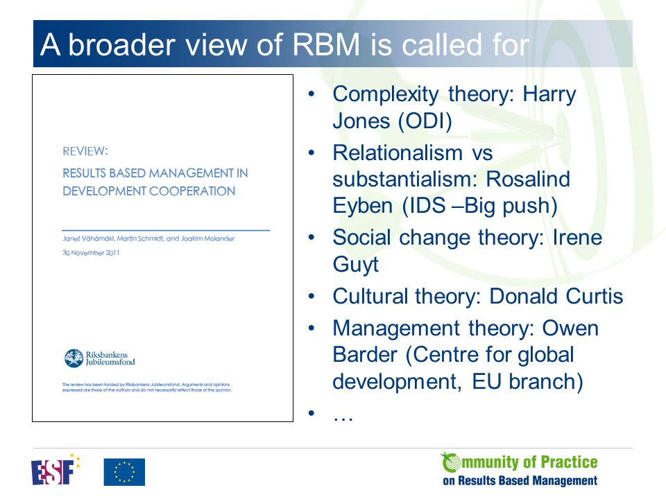 A broader view of RBM is called for Complexity theory: Harry Jones (ODI) Relationalism vs substantialism: Rosalind Eyben (IDS –Big push) Social change theory: Irene Guyt Cultural theory: Donald Curtis Management theory: Owen Barder (Centre for global development, EU branch) …