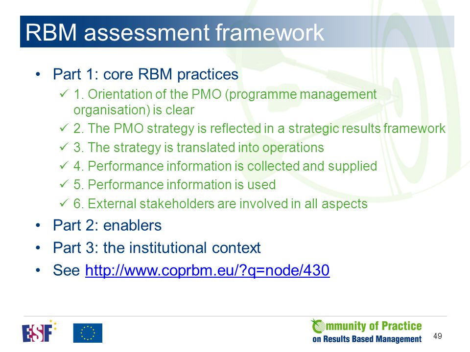 49 RBM assessment framework Part 1: core RBM practices 1.