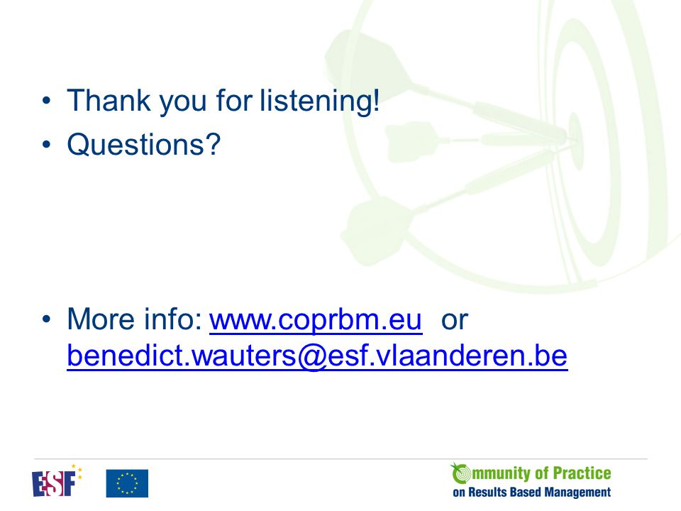 Thank you for listening! Questions? More info: www.coprbm.eu or benedict.wauters@esf.vlaanderen.bewww.coprbm.eu benedict.wauters@esf.vlaanderen.be