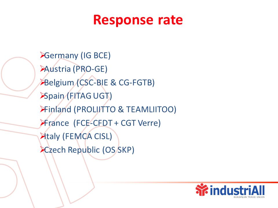  Germany (IG BCE)  Austria (PRO-GE)  Belgium (CSC-BIE & CG-FGTB)  Spain (FITAG UGT)  Finland (PROLIITTO & TEAMLIITOO)  France (FCE-CFDT + CGT Verre)  Italy (FEMCA CISL)  Czech Republic (OS SKP) Response rate