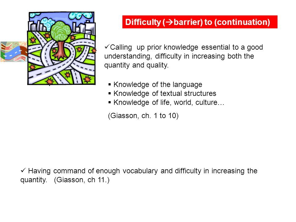 Difficulty (  barrier) to (continuation) Calling up prior knowledge essential to a good understanding, difficulty in increasing both the quantity and