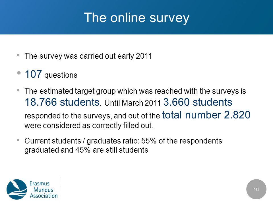 The online survey The survey was carried out early 2011 107 questions The estimated target group which was reached with the surveys is 18.766 students.